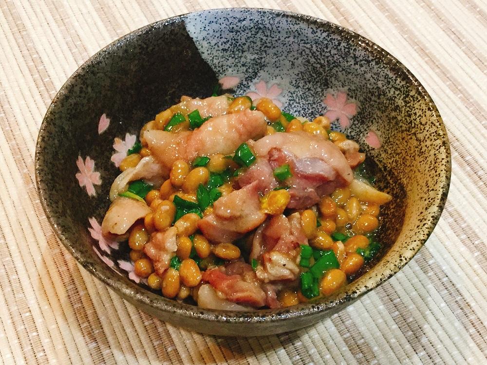 納豆と塩やきとりとネギ和え